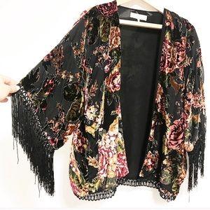Zara fringe velvet kimono jacket.